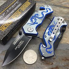 Tac Force Gray Aluminum Handle w/ Blue Dragon Small Spring Assisted Knife