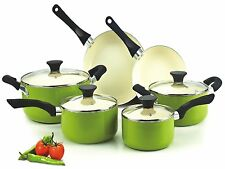 NEW Cook N Home NC-00358 Nonstick Ceramic Coating 10-Piece Cookware Set Green