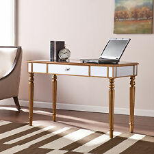 MCD43048 CHAMPAGNE GOLD MIRRORED DESK WITH DRAWER/SLIDE KEYBOARD TRAY