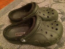 CROCS Adult Sz M-6 W-8 Lined Baya Clogs VGC Black on Black