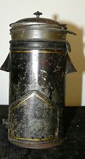 ANTIQUE RARE COFFEE POT TIN PAINTED TRAIL CAMP FIRE CABIN