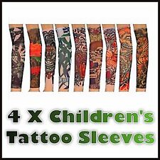 4 x CHILDREN/KIDS FAKE TEMPORARY TATTOO SLEEVE STRETCHY MATERIAL FANCY DRESS