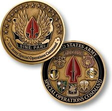 US Army Special Operations Command Sine Pari Challenge Coin USASOC Forces Ranger