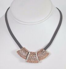 """DESIGNER ROSE GOLD PLATED BLACK 14"""" SUEDE CHOKER WITH CUBIC ZIRCONIA ON SALE"""