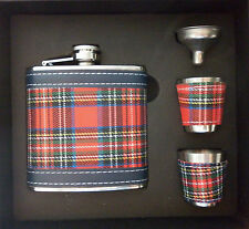 6oz (170ml) SCOTTISH TARTAN HIP FLASK IN GIFT BOX with 2 x CUPS & FUNNEL