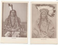 Two Older Postcards of Native Americans Two Feathers & Crow Flies High