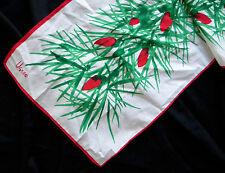VERA NEUMANN Red Green Garland Christmas Lights Silk Oblong Scarf Pine Signed