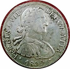 MEXICO SPANISH COLONIAL 1809 8 REALES SILVER - FIRST YEAR OF FERDINAND VII ~ XF