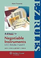 E-Z Rules for Negotiable Instruments and Bank Deposits UCC Art 3 & 4 AspenLaw