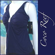 $78 NEW COCO REEF twist tankini swim wear top underwire 38E DD navy blue XL/ XXL