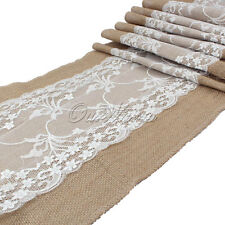 Set of 10pcs Burlap Lace Table Runner Wedding Kitchen Rustic Long Table Runners