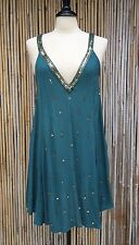 INTIMATELY FREE PEOPLE Teal Chiffon Gold Sequins Deep V Neck Tunic Dress M NWOT