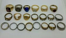 Mens Vintage & Antique Ring Lot. Stainless Brass Gold Plated Rhinestone and CZ