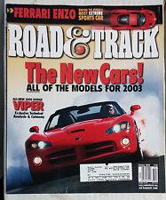 ROAD & TRACK CAR MAGAZINE 2002 OCTOBER DODGE VIPER FERRARI ENZO
