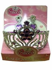 Tiara and Earings - Princess Dress Up set for girls Silver colour Purple flowers