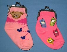 Lot 2 Childs Sock Coin Purse Pink Teddy Bears & Cell Phones NICE & CUTE!