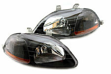 96-98 Honda Civic EK JDM Black Headlights Amber Reflector Hatch Back Coupe Sedan