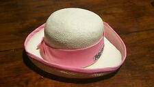 Vintage Tapoo Hawes of California Womens Straw Golfing Large Hat Beige & Pink