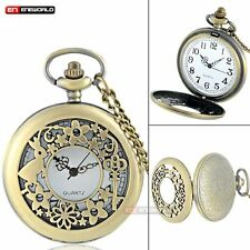 Vintage Necklace Alice In Wonderland Quartz Pocket Watch Pendant Antique Gift UK