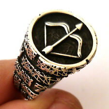 Bow and Arrow, Turkish 925 S. Silver No Stone Men's Ring Sz 11 #0932 fr.resize