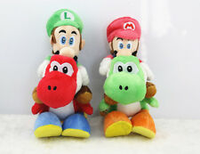 "2pcs Super Mario Brother Bros Luigi Mario Ride Yoshi 7"" Plush doll Toy US Ship"