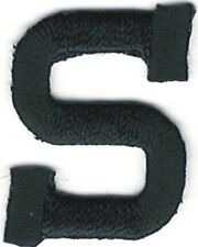 "1"" Tall Black Monogram Block Letter S Embroidery Patch"