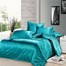 3 Piece Turquoise Silky Satin Duvet Cover Zipper Closure Set Queen Size