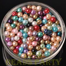 Hot 50pcs 6mm Round Glass Pearl Loose Spacer Beads Jewelry Making Mixed Color