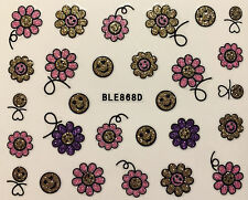 Nail Art 3D Glitter Decal Stickers Flower Smiley Faces BLE868D