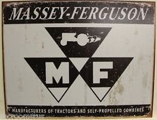 MASSEY-FERGUSON tractor logo metal sign MF farm equipment combine aged look crop