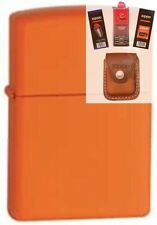 Zippo 231zl orange matte w/ logo Lighter + FUEL FLINT WICK POUCH GIFT SET