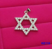 New HQ 925 Silver Plated Jewish Star of David CZ Necklace Pendant