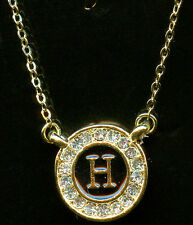GOLD PLATED CRYSTAL & ENAMEL INITIAL LETTER H PENDANT NECKLACE