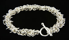 Floppy Loops Chain Maille Bracelet .925 Sterling Silver 7.5 Inch Chainmail iDu