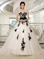 Black Sash Applique Bridal Gowns Tulle White and Black Wedding Dress Custom Size