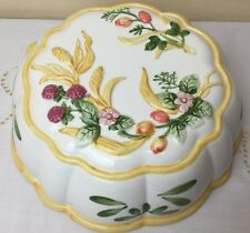 Vintage Large China Jelly Mould decorated with flowers fruit  can hang on wall