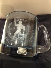 Collectable Wedgwood Etched Blue Glass Tankard - Olympiad XXI Montreal Canada