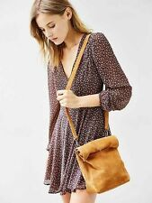 NWT Silence + Noise Tan Suede Mini Paper Bag Messenger Purse Nasty Gal Hippy Hot