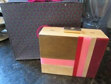 New TORY BURCH COLOR CUBE MINAUDIERE Wood Resin CLUTCH Pink MULTI GIFT BAG