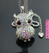 A556W?  Betsey Johnson Crystal  AB  Enamel Cute Owl Pendant Long Necklace