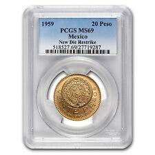 1959 Mexico 20 Pesos Gold Coin - Restrike - MS-69 PCGS - SKU #77383