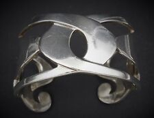 """Vintage WM Sterling Silver Abstract Geometric Cuff Bracelet 925 6.25"""" 72g BS725"""