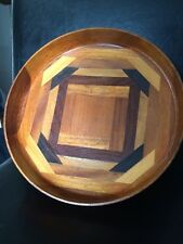 Lovely Vintage Retro Multi Coloured Hand Made Wooden Bowl with Felt Base