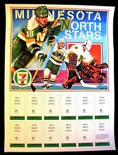 1985-86 MINNESOTA NORTH STARS 7-11 FIRE SAFETY CARD SET DISPLAY POSTER