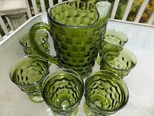 Indiana Lancaster Colony Whitehall Cube Olive Green Pitcher & 6 Tumbler glasses