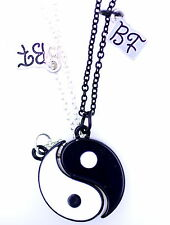 Two parts black and white magnet yin yang sign necklace / necklaces