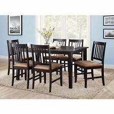 BRAND NEW 7pc Espresso Dining Room Kitchen Set Table 6 Brown Parson Chairs Seats
