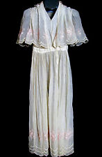 Vintage  Edwardian Muslin & netting embroidered DRESS W/ attached shoulder cape