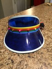 Vintage RAINBOW Blinking Light Up LED Blue Vinyl Retro Visor Hat GAG GIFT 9V
