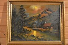 Indiana Artist 1949 Oil/CV Cabin in the Woods Moonlight River Mrs.Maggie Kayley